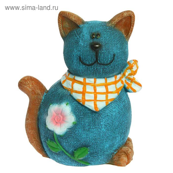 """Садовая фигура """"Кошка в платочке"""" синяя"""