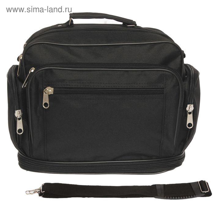 Сумка-трансформер мужская, 2 отдела, наружный карман, длинный ремень, чёрная