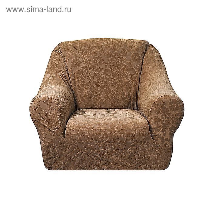 """Чехол на кресло """"Челтон"""", ширина спинки 110 см, высота до 95 см, цвет бежевый"""
