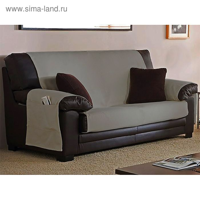 Накидка ИДЕН на 3-хместный диван цв.св-серый, шир.160см, хл, п/э