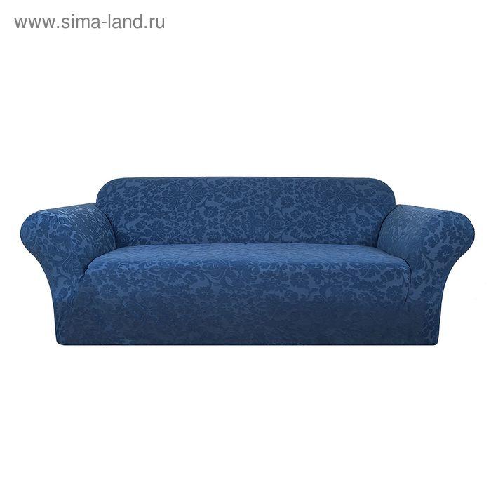 Чехол ЧЕЛТОН на 2-хместный диван цв.морс.волна, шир.спинки до 185см, 100% п/э