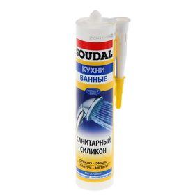 Герметик Soudal, силиконовый, санитарный, белый, 300 мл