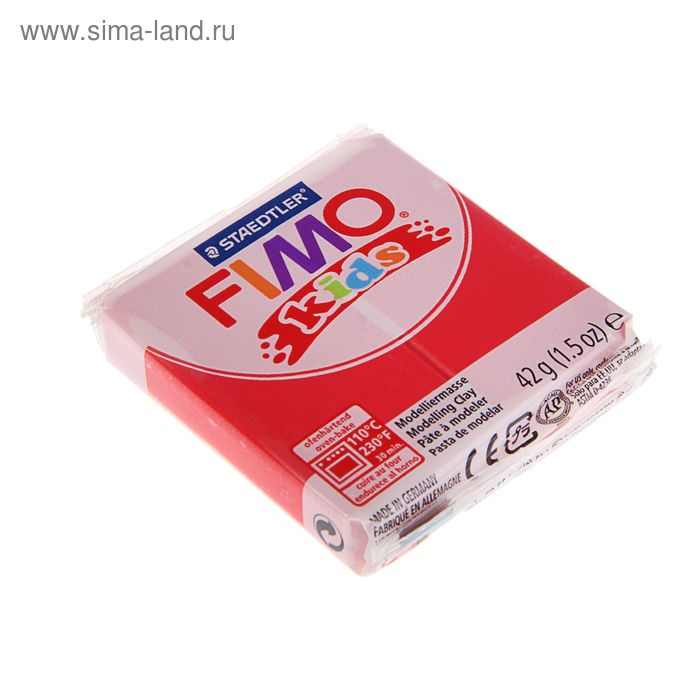Пластика - полимерная глина для детей 42г FIMO kids, красный