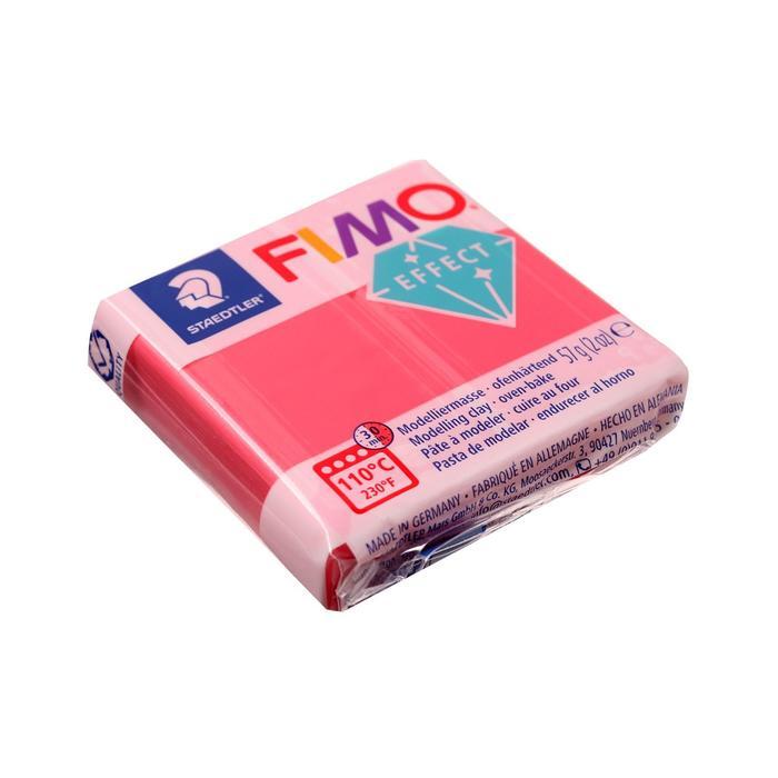 Пластика - полимерная глина 57г FIMO effect, полупрозрачный красный