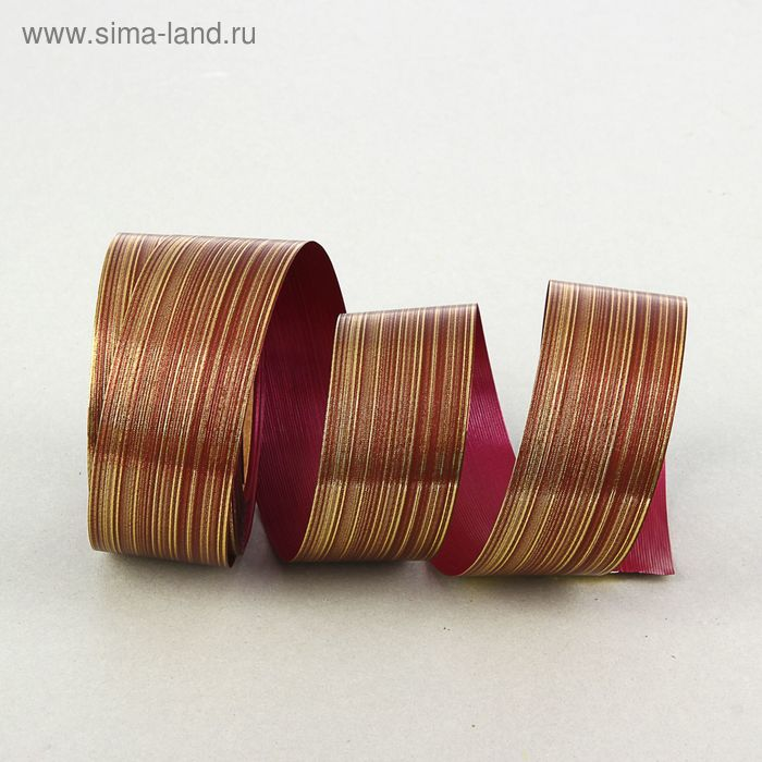 """Лента для декора и подарков """"Аспидистр"""" 5 см х 50 м, тиснение, бордово-золотой"""