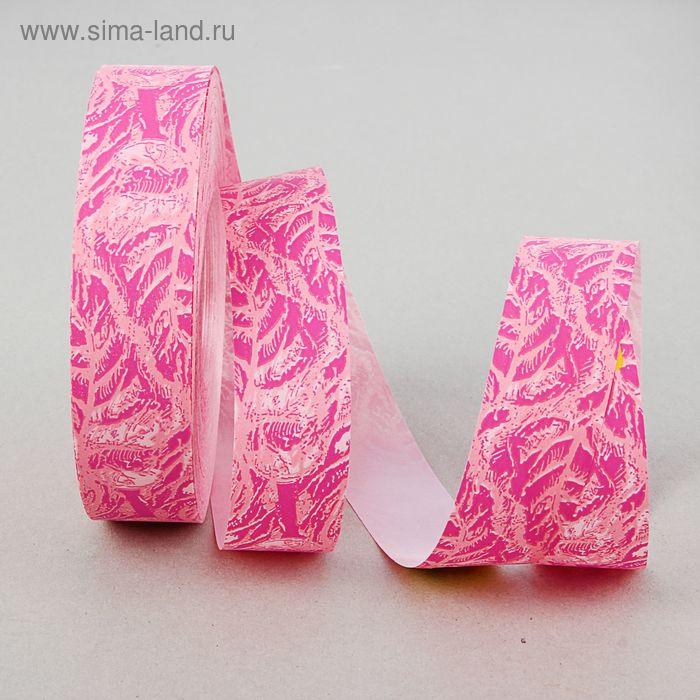 Лента для декора и подарков с рисунком, розовая, 3 см х 100 м