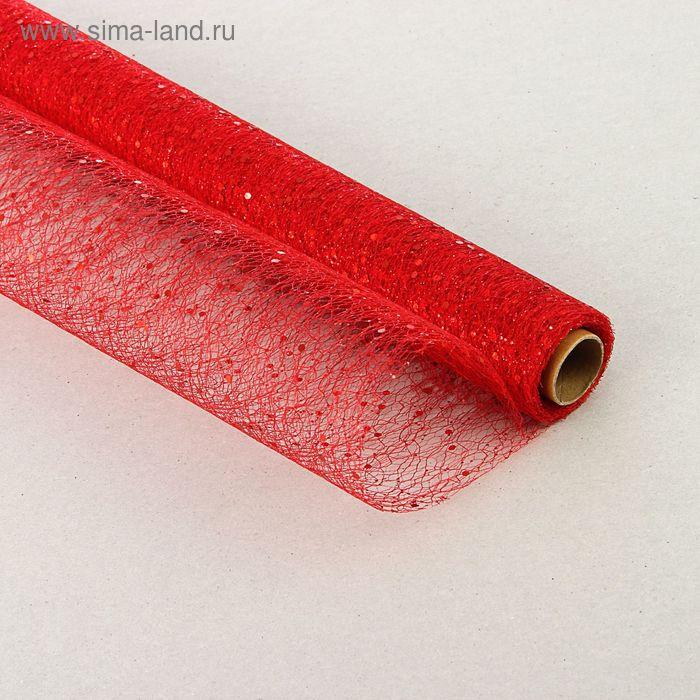 Сетка с блестками, красный, 40 см x 5 м