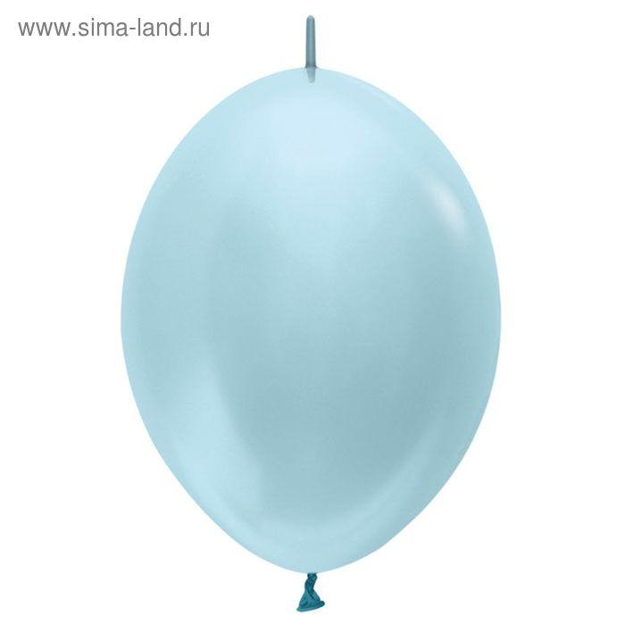 """Шар латексный 12"""", линколун, перламутр, набор 100 шт., цвет голубой"""