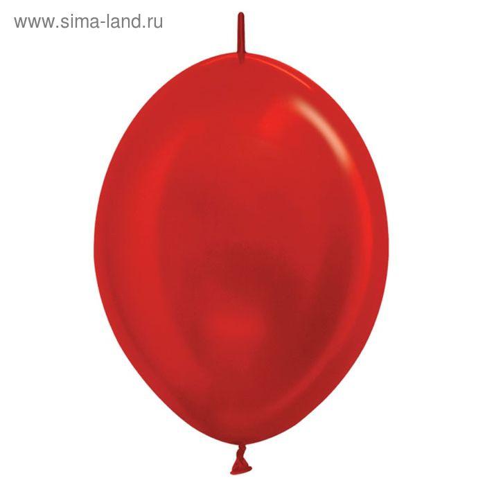 """Шар латексный 12"""", линколун, металл, набор 100 шт., цвет красный"""