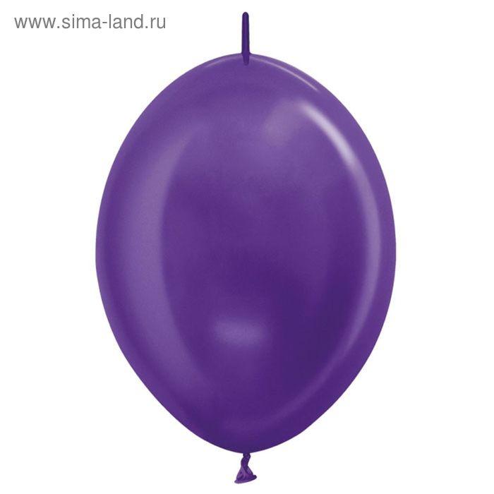 """Шар латексный 12"""", линколун, металл, набор 100 шт., цвет фиолетовый"""