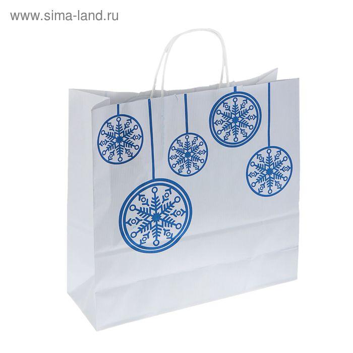 """Пакет крафт """"Шарики синие"""", 32 х 32 х 12 см"""