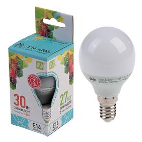 """Лампа светодиодная ASD, Е14, 3.5 Вт, 210 - 240 В, 4000 К, """"шар"""""""