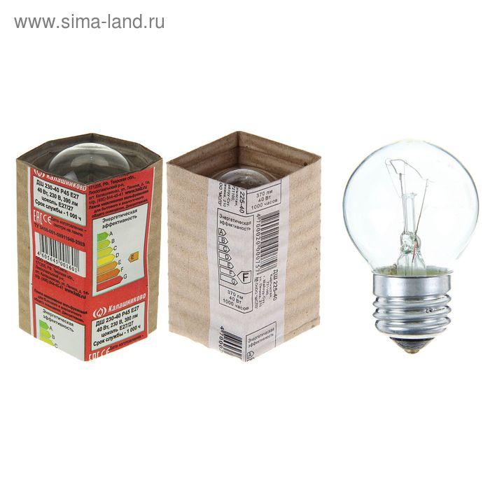 Лампа накаливания ДШ, Е27, 225 В, 40 Вт