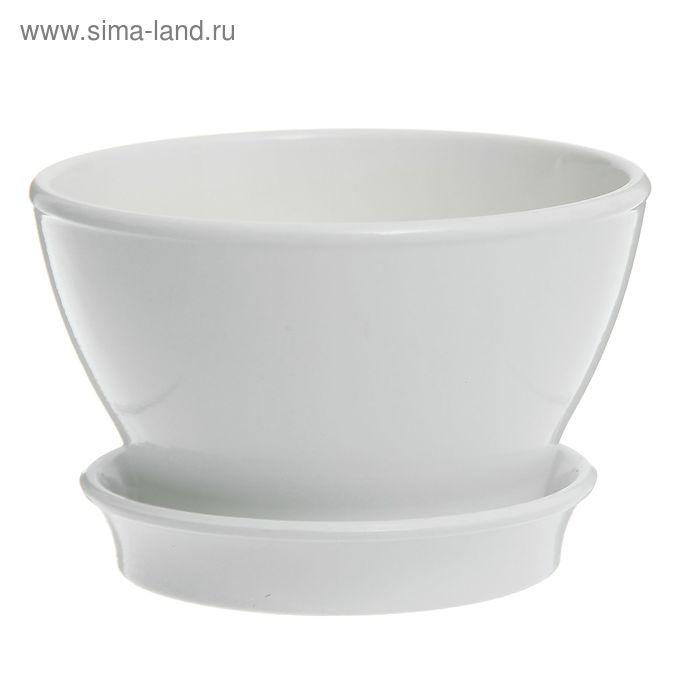 """Кашпо """"Ксения"""" фиалочница, глянец, белое, 0,5 л"""