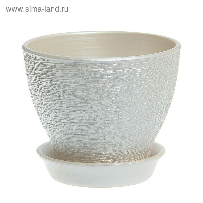 """Кашпо """"Ксения"""" серебро, 1,5 л"""