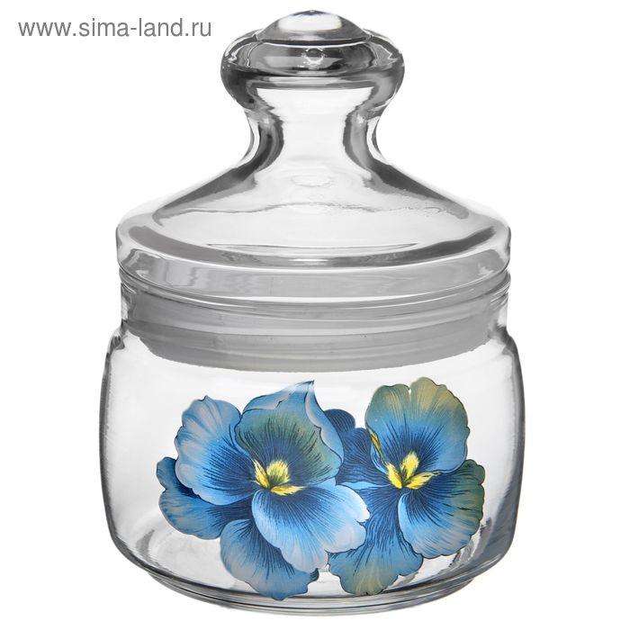 """Банка для сыпучих 500 мл """"Голубая орхидея"""", крышка cesin"""