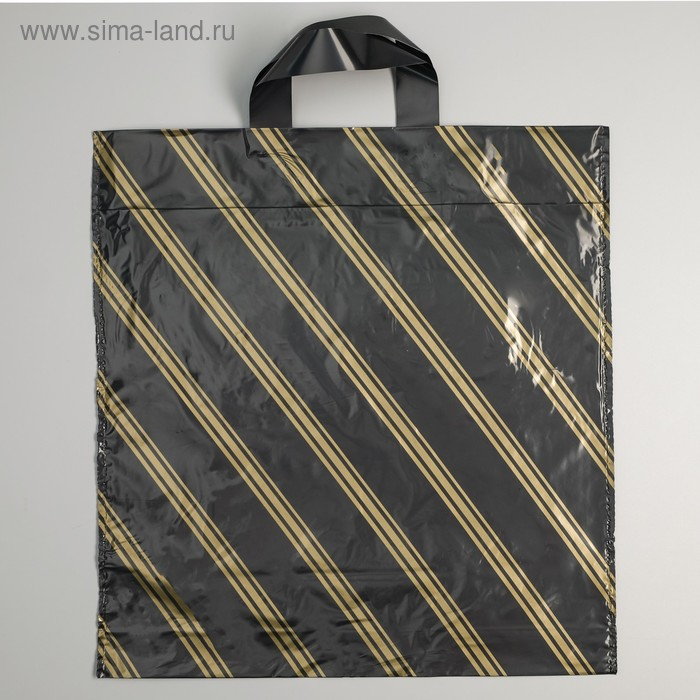 """Пакет """"Золотая полоса эконом"""", полиэтиленовый с петлевой ручкой, 42 х 38 см, 38 мкм"""