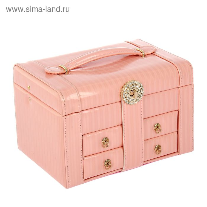 """Шкатулка для украшений """"Глянец"""" розовая пастель"""
