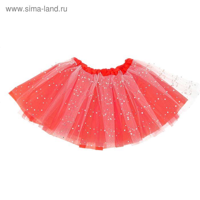"Карнавальная юбка ""Модница"" 3-х слойная 4-6 лет, цвет красный"