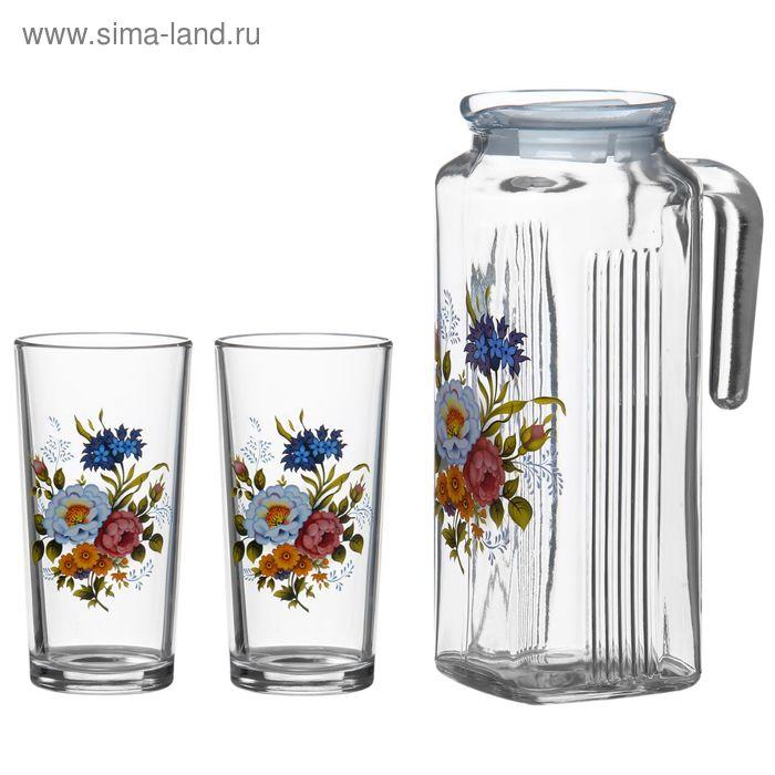 """Набор питьевой """"Букетик"""", 3 предмета: кувшин 1 л, два стакана 200 мл"""