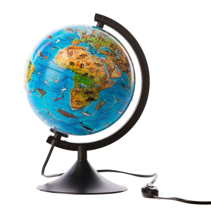 """Глобус зоогеографический Детский диаметр 210мм """"Классик"""", с подсветкой"""