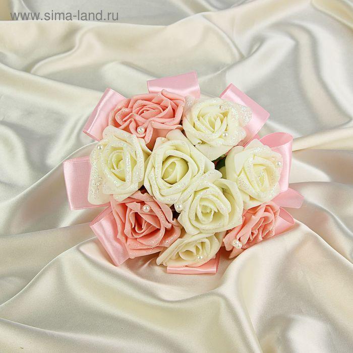 Дублер букета невесты с розами премиум бело-розовый 9 шт