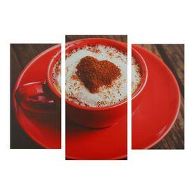 """Модульная картина на подрамнике """"Кофе в красной кружке"""", 2 шт. — 25,5×50,5, 30,5×60 см, 60×100 см"""