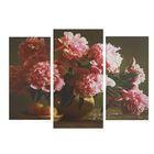 """Модульная картина на подрамнике """"Розовые пионы"""", 2 шт. — 25,5×50,5 см, 30,5×60 см, 60×100 см"""