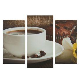 """Модульная картина на подрамнике """"Кофе"""", 2 шт. — 25,5×50,5 см, 30,5×60 см, 60×100 см"""