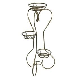 """Подставка для цветов """"Тюльпан-3"""", верхний d=22 см, нижние d=18 см, цвет бронзовый антик"""