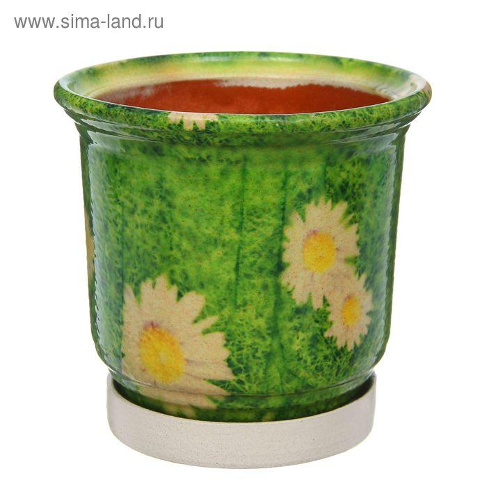 "Кашпо ""Цветник"" зелёное, ромашки 1 л"