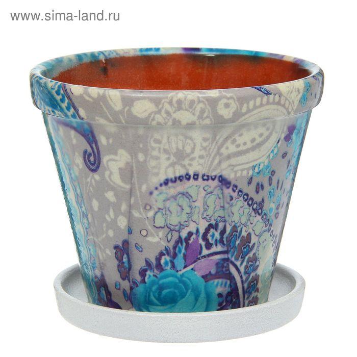 """Кашпо """"Гамма"""" розы, синее 1,5 л"""