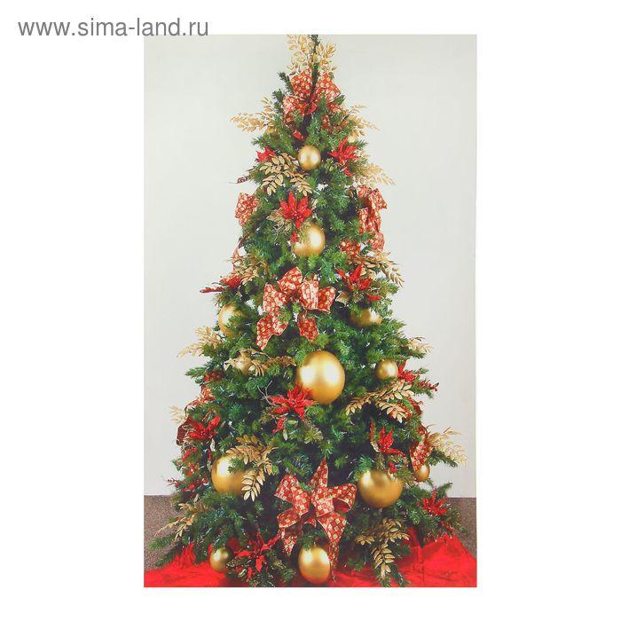 Картина на холсте световая «Ёлочка с красными бантами» 60х100 см