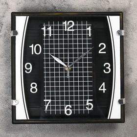 Часы настенные квадратные 'Серия Black. Checkered', чёрные, циферблат клетка на чёрном фоне Ош