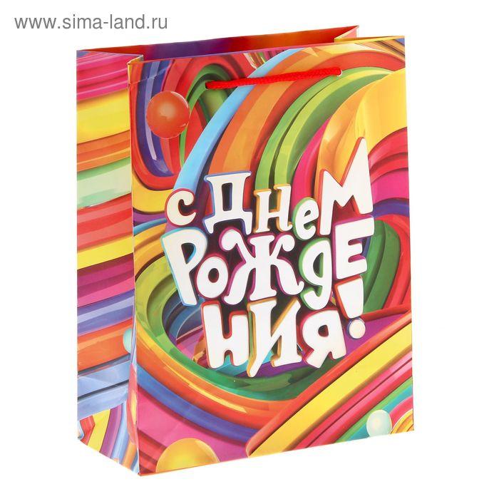 """Пакет ламинат вертикальный """"С Днем рождения!"""", 18 х23 см"""