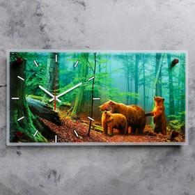 """Часы-картина настенные """"Мишки в лесу"""", 52х26 см микс"""