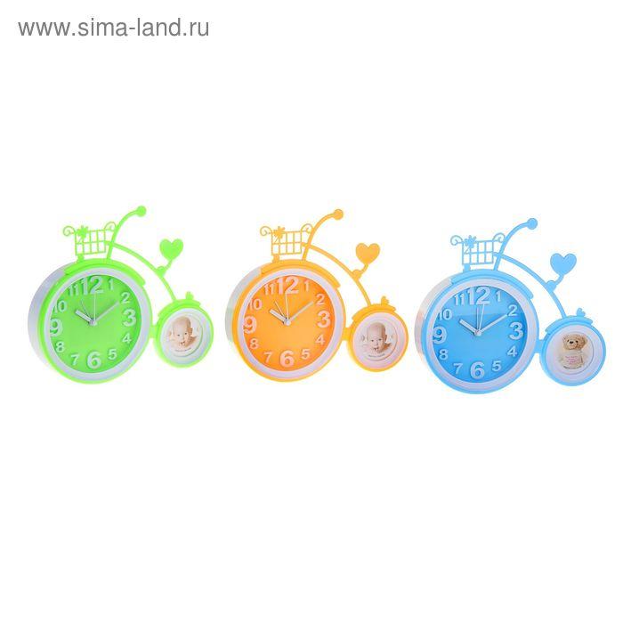 Часы настольные Велосипед с фоторамкой МИКС 21,5*4,5*19 см.