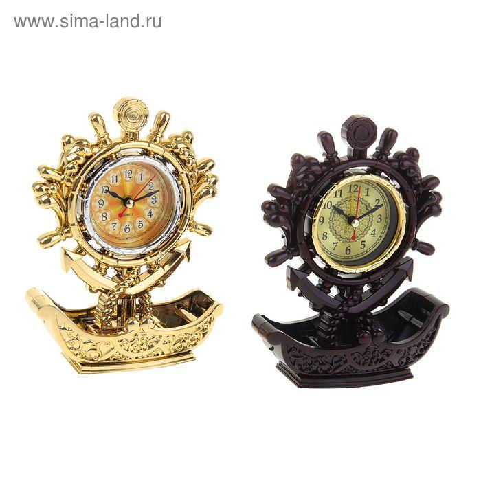 Часы настольные циферблат в виде штурвала с якорем, МИКС лодочка 17,5*13*7 см.