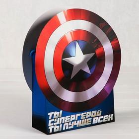 """Пакет подарочный с фигурной ручкой """"Ты супергерой"""", Команда Мстители, Капитан Америка"""