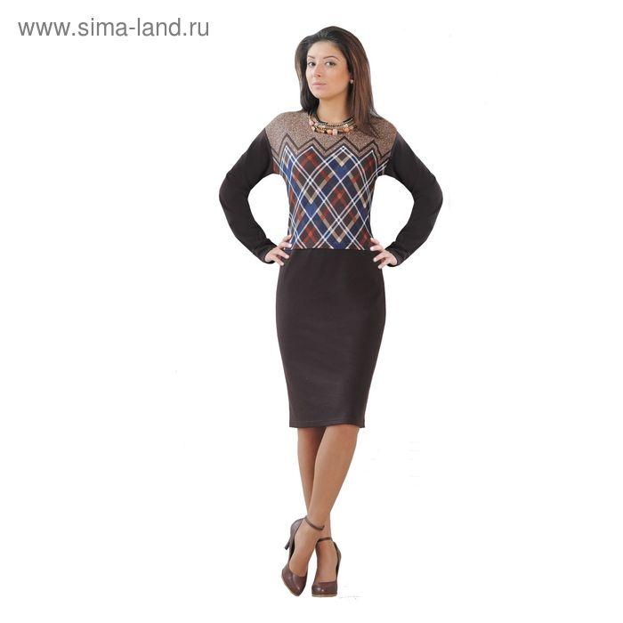 Платье женское 4220, размер 48, цвет темный шоколад/принт