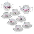 """Сервиз чайный на 6 персон """"Тюльпаны"""", 14 предметов: чайник 600 мл, сахарница 500 мл, 6 чашек 200 мл, 6 блюдец 14 см"""