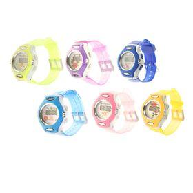 Часы наручные детские электронные с силик. прозр ремешком, циферблат двухцветный цвета микс 20*3,5*1 Ош