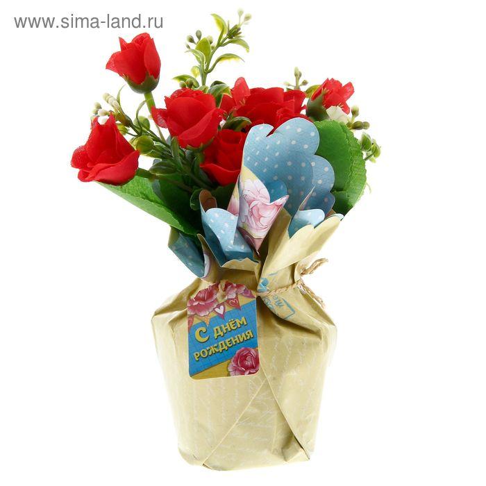 """Цветы в букете """"С Днем рождения"""", 15 х 10 см"""