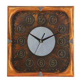 Часы настенные квадратные 'Серия Сумрак. Цифры в кружках', 31 × 31 см, рама под бронзу, циферблат под состаренное дерево Ош
