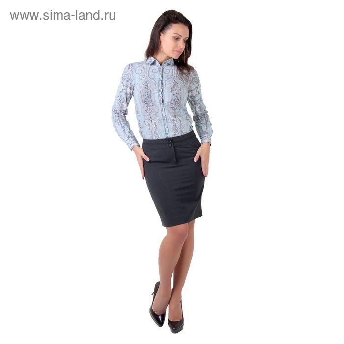 Юбка женская, размер 52, рост 170 см, цвет серый меланж (арт. 3435301 С+)