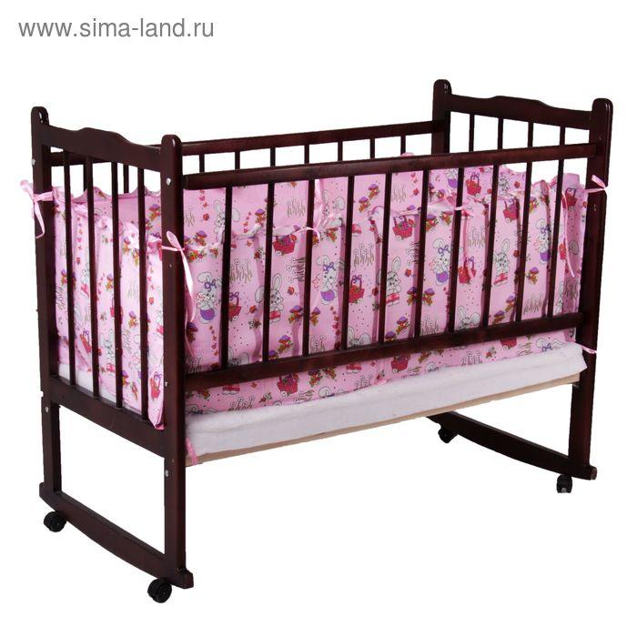 """Бортик с рюшей """"Зайчики"""", 4 части (2 части: 40х60 см, 2 части: 40х120 см), цвет розовый (арт. 532)"""