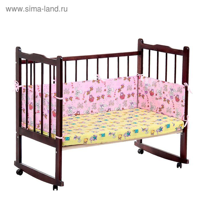 """Бортик """"Зайчики"""", 4 части (2 части: 30*60 см, 2 части: 30*120 см), цвет розовый 542"""