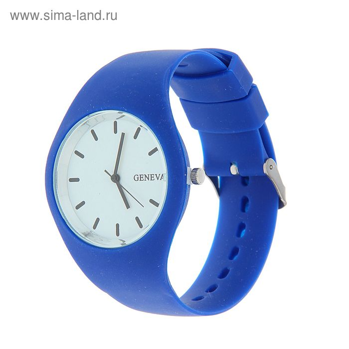 Часы наручные женские Женева ремешок сплошной силиконовый синий