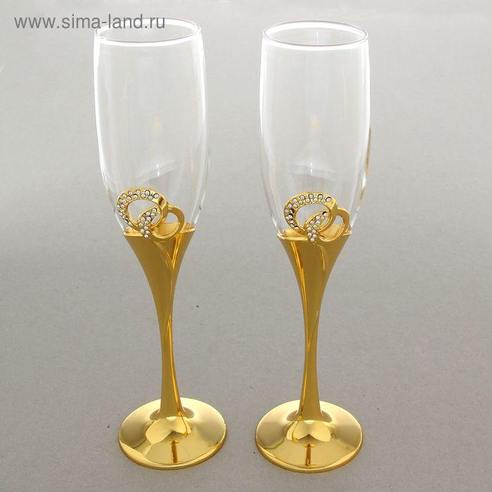 """Набор свадебных бокалов """"Молодожены"""", золотой"""