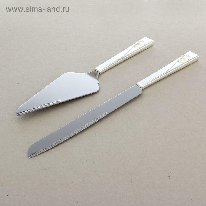 Набор для торта «Молодожены», нож и лопатка, серебряный
